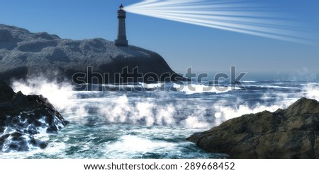 Moorehead Lighthouse - A lighthouse on a steep cliff sends out a lightbeam to warn of danger to passing ships - stock photo