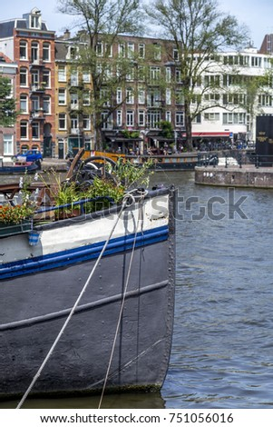 mooring in the harbor of Amsterdam