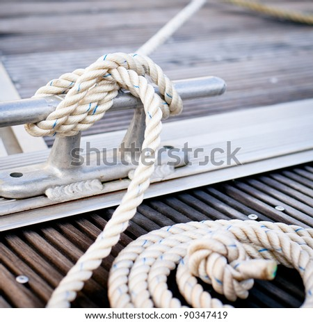 Closeup Mooring Rope Knotted End Tied Stock Photo 83834581
