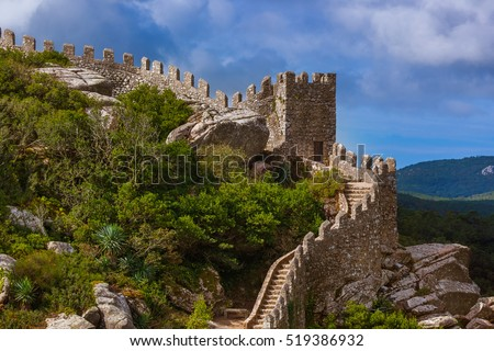 Moorish castle in Sintra - Portugal - architecture background