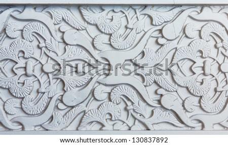 Moorish facade ornament, closeup of plaster wall - stock photo