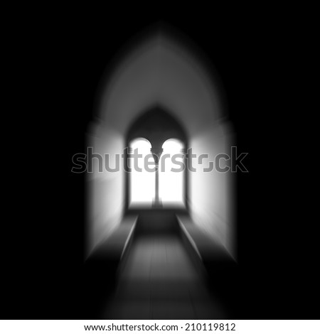 Moorish window backlit in black and white. Zooming effect.  - stock photo