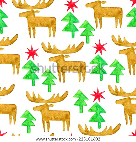 Moose and Christmas trees watercolor pattern. Silhouettes on white backdrop. Winter holidays background.
