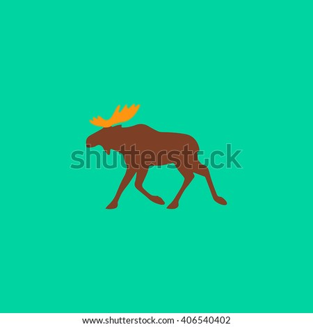 Moose Flat icon on color background. Simple colorful pictogram - stock photo