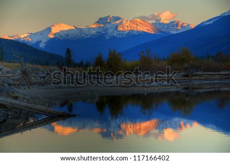 Moose Lake Reflection during Sunset, Mount Robson Provincial Park, Canadian Rockies