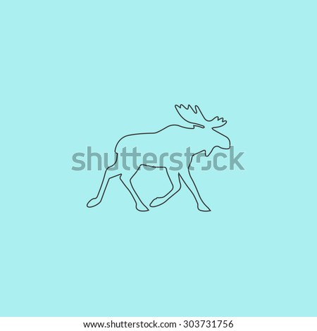 Moose. Outline simple flat icon isolated on blue background - stock photo
