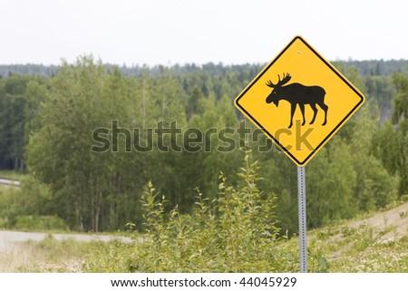 Moose Sign Alaska - stock photo