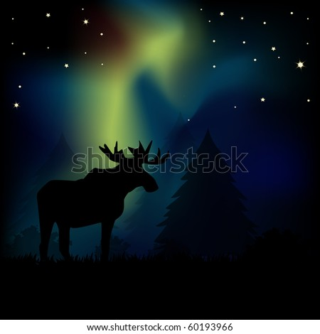Moose silhouetted in aurora borealis lights. Symbol of the north.