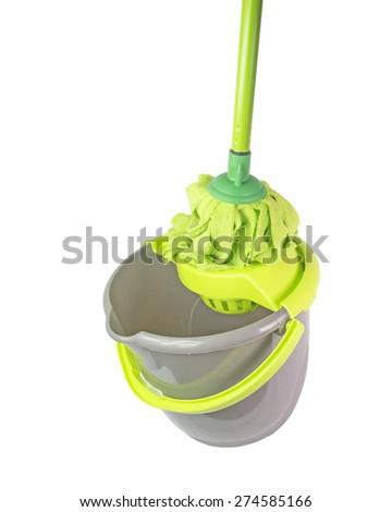 mop bucket green isolated - stock photo