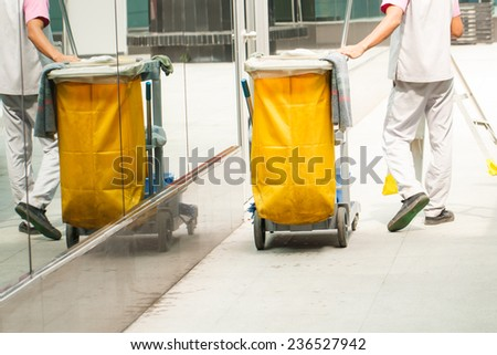 Mop bucket on cleaning process-1 - stock photo