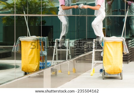 Mop bucket with cleaner background-3 - stock photo