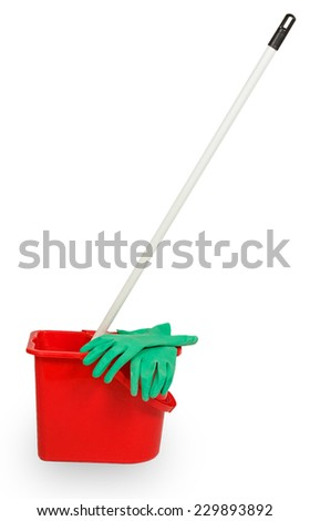 Mop in red plastic bucket and green rubber glove isolated on white background - stock photo