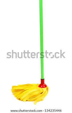 Mop isolated on white - stock photo