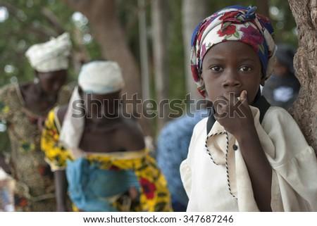 Mopti, Mali-Aug.26, 2011. Malian children - stock photo