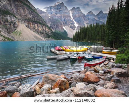 Moraine Lake, Banff National Park, Canada - stock photo