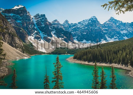 Moraine lake - beautiful turquoise colored lake in nature of Canada Alberta