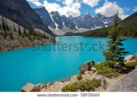 Moraine Lake in Banff National Park - stock photo