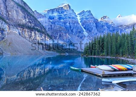 Moraine Lake in Banff National Park, Alberta, Canada - stock photo