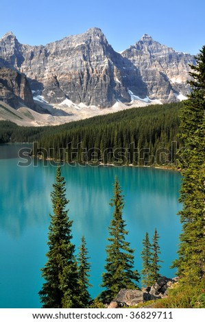 Moraine Lake in Summer, Alberta, Canada Vertical - stock photo