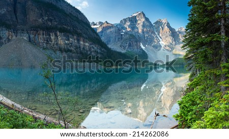 Moraine Lake in the morning at Sunrise in banff canada - stock photo