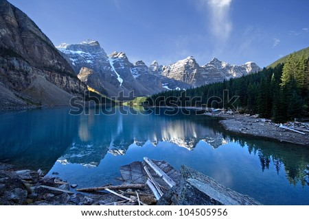 Moraine Lake, Lake Louise, Banff National Park, Alberta, Canada. - stock photo