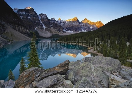 Moraine Lake Sunrise - stock photo