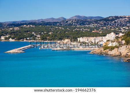 Moraira Teulada marina port in Alicante Mediterranean Spain - stock photo