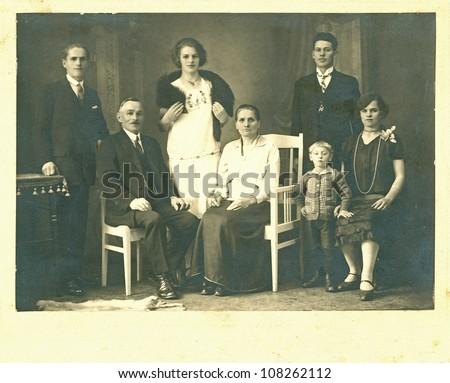 MORAVIA, CZECHOSLOVAK REPUBLIC, CIRCA 1935 - The whole Family / generation - circa 1935 - stock photo