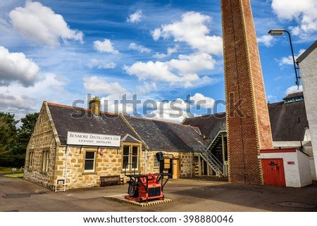 MORAY, SCOTLAND, UNITED KINGDOM - SEPTEMBER 11, 2015 : exterior of the Dallas Dhu distillery. Production closed in 1983 and today is owned and run as a visitor museum by Historic Scotland. - stock photo