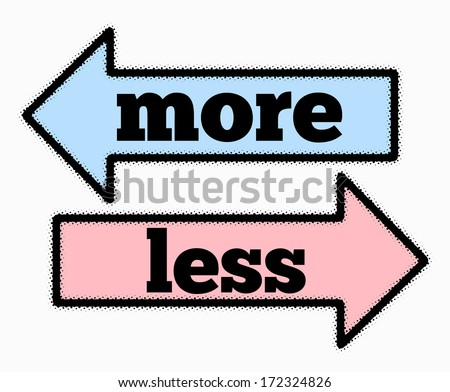 More and less signs in blue and pink arrows concept - stock photo
