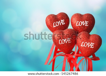 More Love and heart on abstract blue background  - stock photo