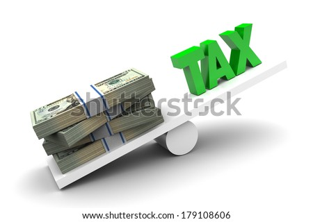 More money less tax illustration on white background