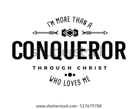 more than conqueror christian typography art stock illustration