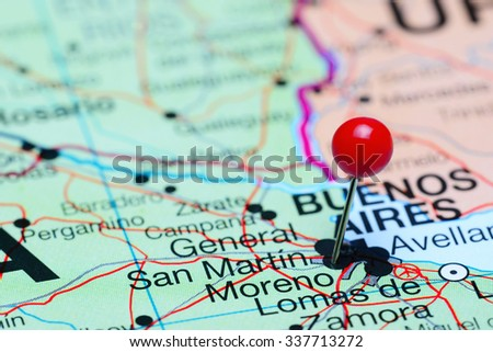 Moreno pinned on a map of Argentina  - stock photo