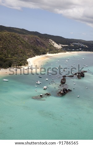 moreton island tangalooma aerial view of shipwreck reefs from helicopter - stock photo