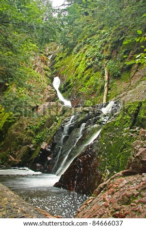Morgan Falls in the Chequamegon National Forest in Northern Wisconsin (Vertical Image) - stock photo
