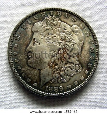 Morgan Silver Dollar, US Currency - stock photo