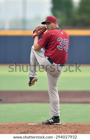 MORGANTOWN, WV - JUNE 21:  Mahoning Valley Scrappers pitcher Leandro Linares (35) throws a pitch during a NY-Penn League minor league baseball game June 21, 2015 in Morgantown, WV.  - stock photo