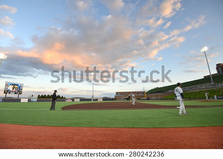 MORGANTOWN, WV - MAY 1: Monongalia County Ballpark shown during a Big 12 conference baseball game May 1, 2015 in Morgantown, WV.  - stock photo
