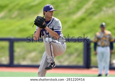 MORGANTOWN, WV - MAY 2: TCU pitcher Preston Morrison (18) delivers a pitch during a Big 12 conference baseball game May 2, 2015 in Morgantown, WV.  - stock photo