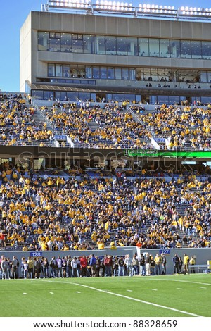 MORGANTOWN, WV - NOVEMBER 5: Fans begin to fill the seats of Mountaineer Field prior to a football game against Louisville November 5, 2011 in Morgantown, WV.