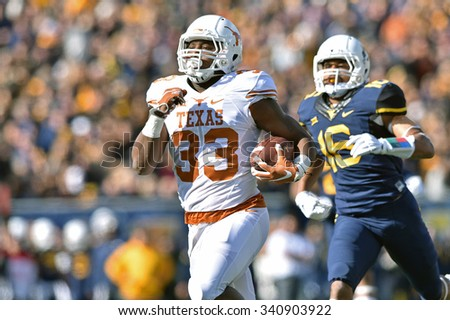 MORGANTOWN, WV - NOVEMBER 14: Texas Longhorns running back D'Onta Foreman (33) runs for what would be a touchdown during the football game November 14, 2015 in Morgantown, WV.