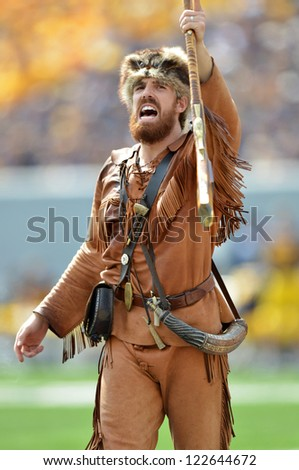 MORGANTOWN, WV - SEPTEMBER 29: The West Virginia Mountaineer on the field prior to the start of a Big 12 conference football game September 29, 2012 in Morgantown, WV. - stock photo
