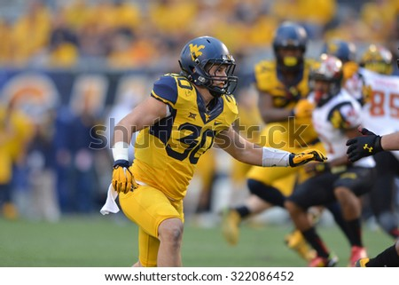 MORGANTOWN, WV - SEPTEMBER 26: West Virginia Mountaineers linebacker Justin Arndt (30) shown during the NCAA football game September 26, 2015 in Morgantown, WV.