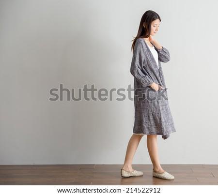 Mori Girl Asian woman model designer style relax home - stock photo
