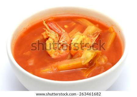 Moringa oleifera ragout sour soup with shrimp and water  - stock photo
