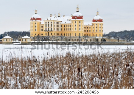 Moritzburg castle in background of lake - stock photo