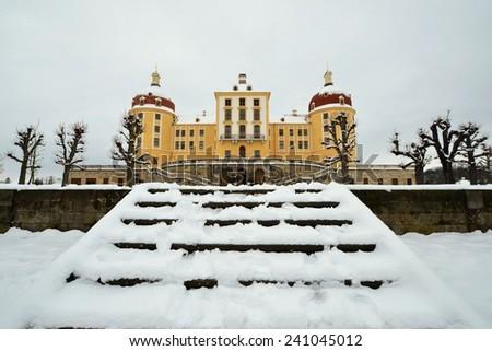 Moritzburg castle in winter - stock photo