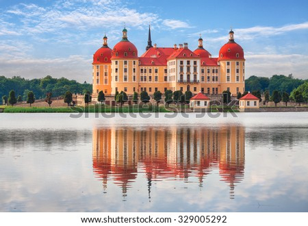 Moritzburg in Dresden with reflection - stock photo