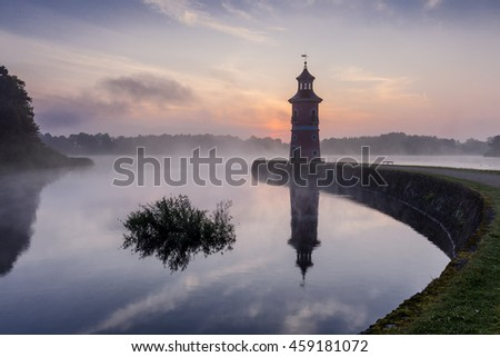 Moritzburg Lighthouse with jetty near Dresden - Saxony, Germany